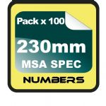 23cm (230mm) Race Numbers MSA SPEC - 100 pack